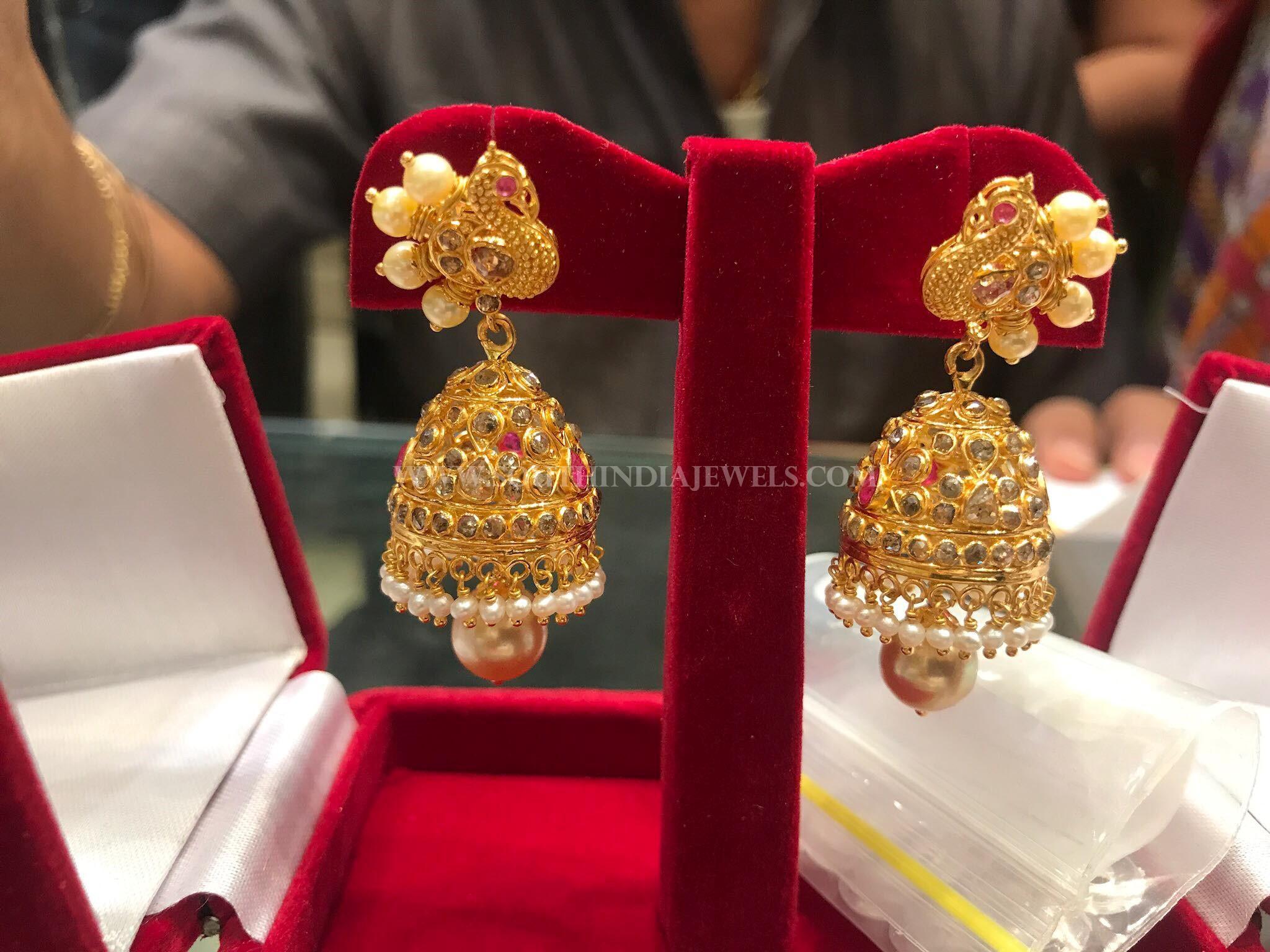 Gold CZ Stone Jhumka Design