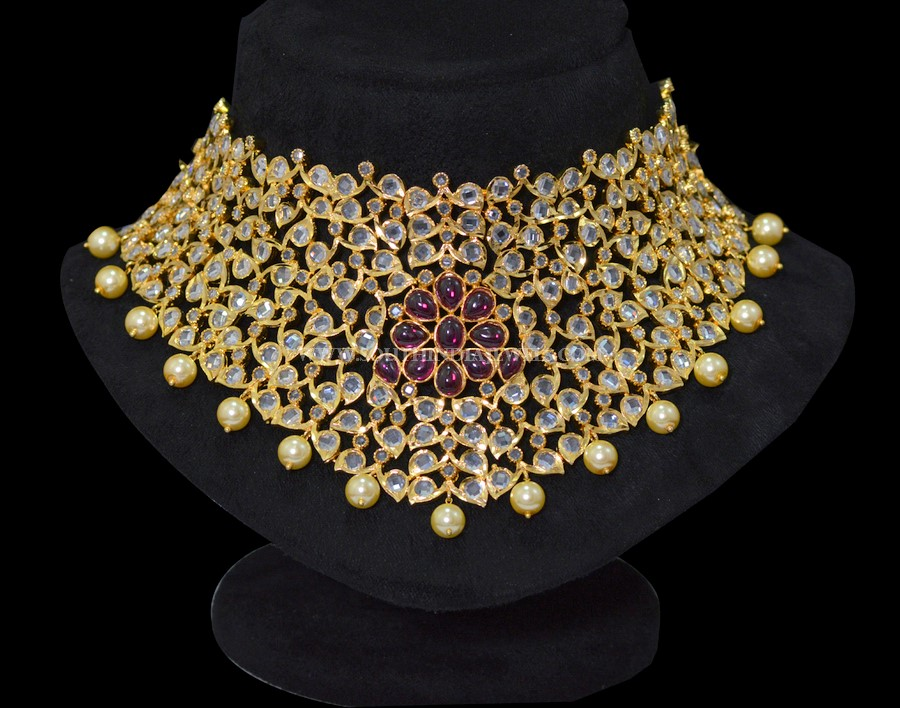 Gold Plated Stone Choker Necklace From Sri Fine Jewellery