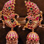 Gold Kemp Ruby Peacock Jhumka Design