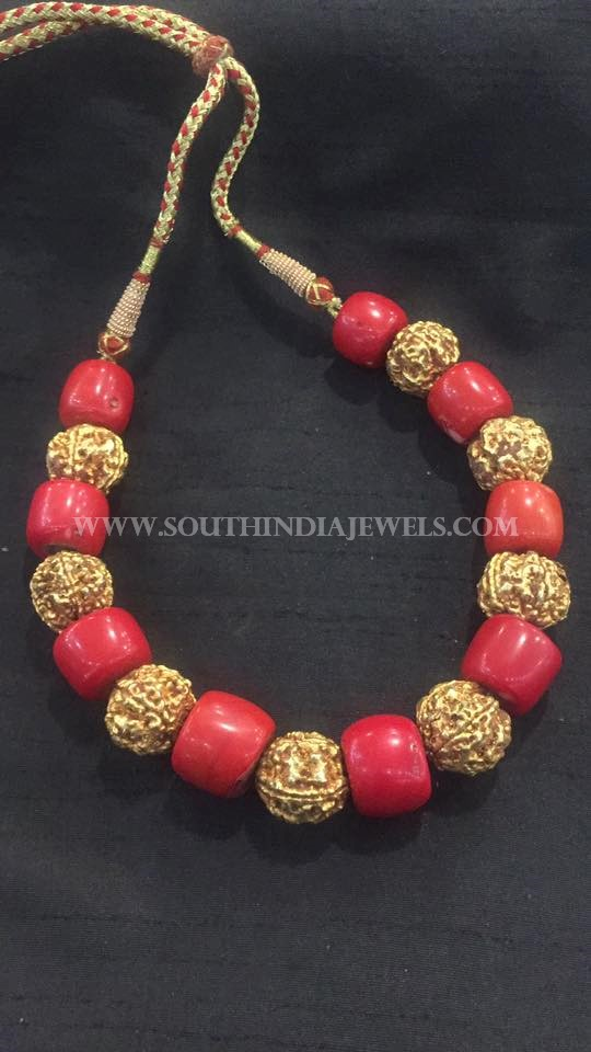 Gold Short Coral Mala Necklace
