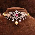 Gold Short Diamond Choker With Rubies & Pearls