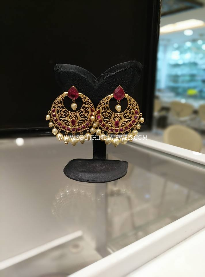 Gold Ruby Chandbali From Sri Ganapathi Jewellers