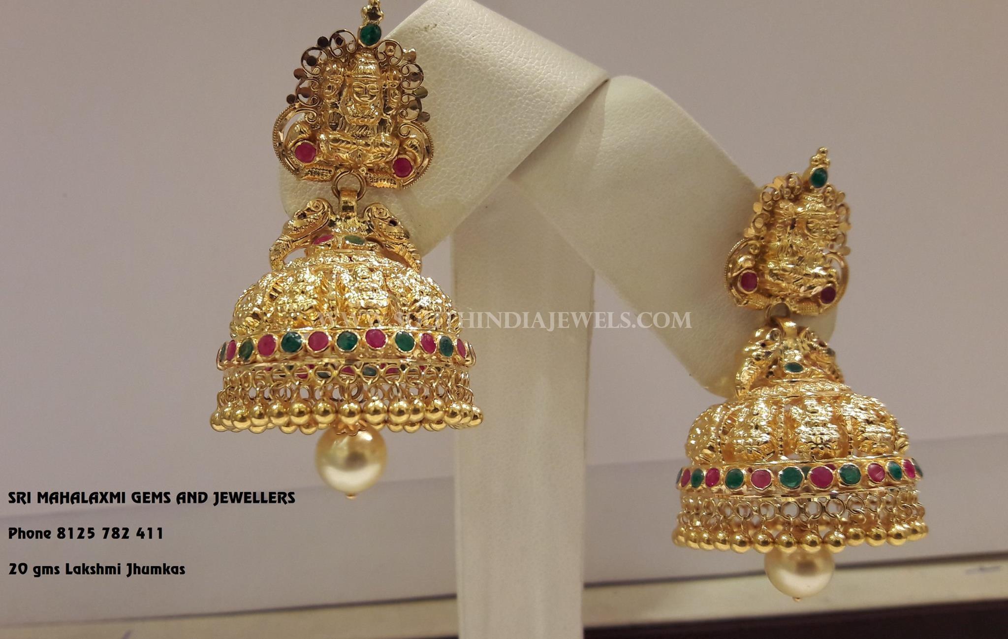 20 Grams Gold Lakshmi Jhumka