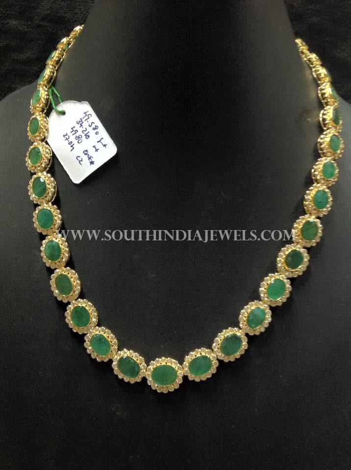 Simple Gold CZ Emerald Necklace