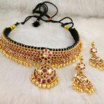 Gold Kundan Necklace & Chandbali Earrings