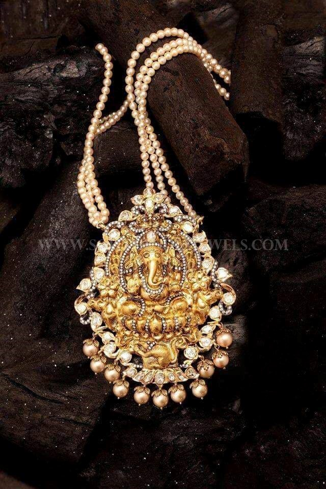 Gold Pearl Mala With Ganesh Pendant