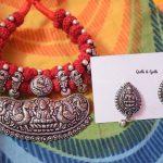 Oxidized Silver Thread Necklace Set
