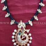 Traditional Gold Black Rope Necklace Design