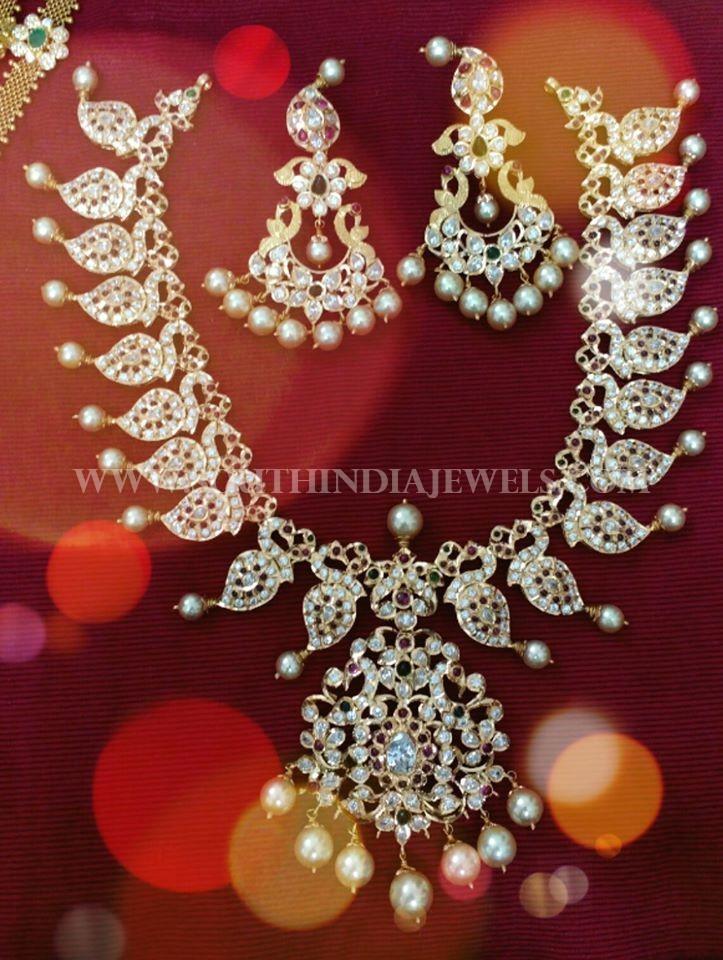Diamond Peacock Necklace Set