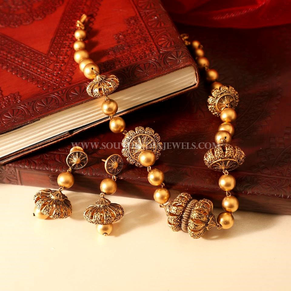 Gold Antique Finish Mala From Manubhai Jewellers