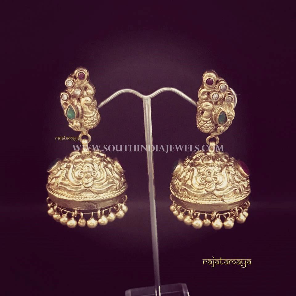 Gold Antique Jhumka From Raja