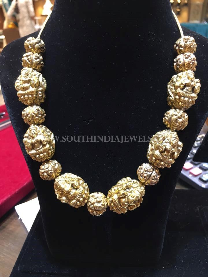 Gold Antique Nakshi Ball Necklace