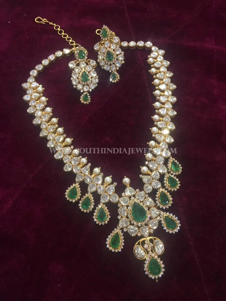 Gold Green Stone Necklace From Big Shop