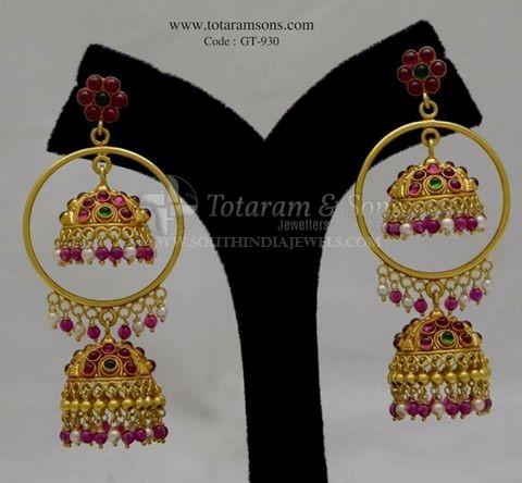 Gold Ruby Jhumka From Totarum