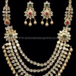 Gold Kundan Step Necklace And Earrings