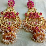 One Gram Gold Ruby Pearl Earrings