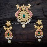 Zircon Ruby Pendant And Earrings