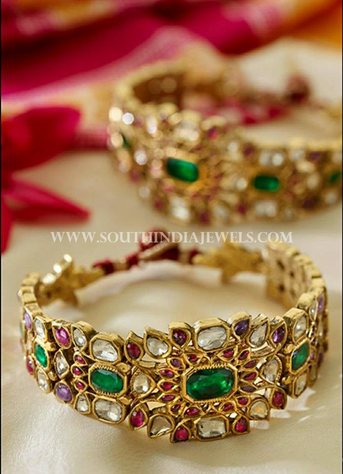 70 Grams Gold Polki Bangle Design