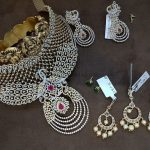 Gold Diamond Choker And Earrings