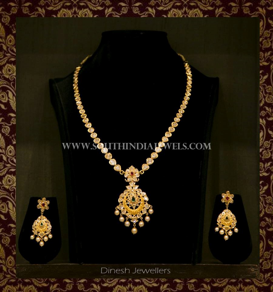 Gold Simple Short Necklace With Earrings