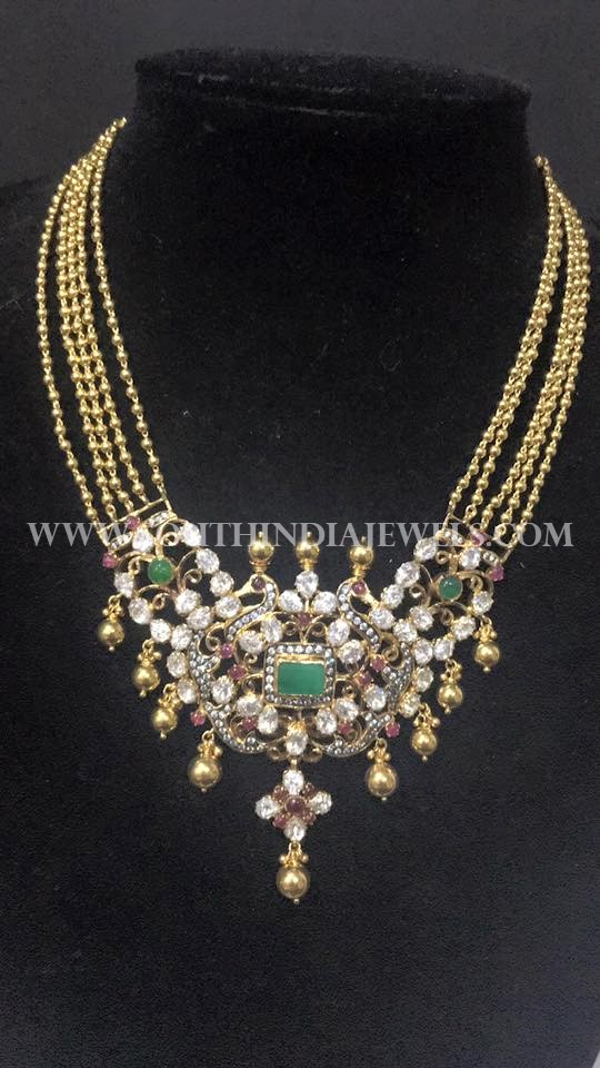 Multi Layer Gold Necklace With Antique Pendant