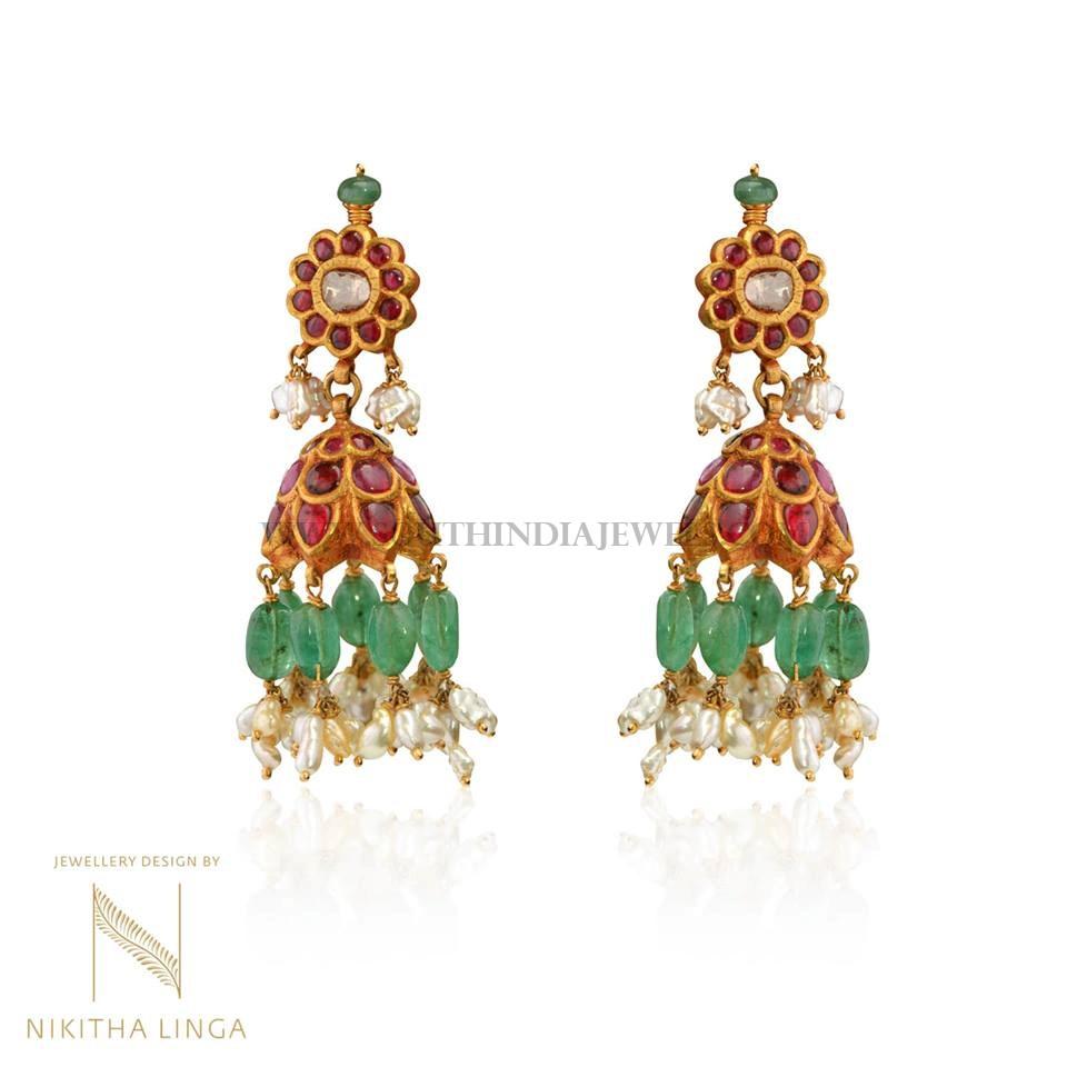 Gold Ruby Emerald Jhumka Model