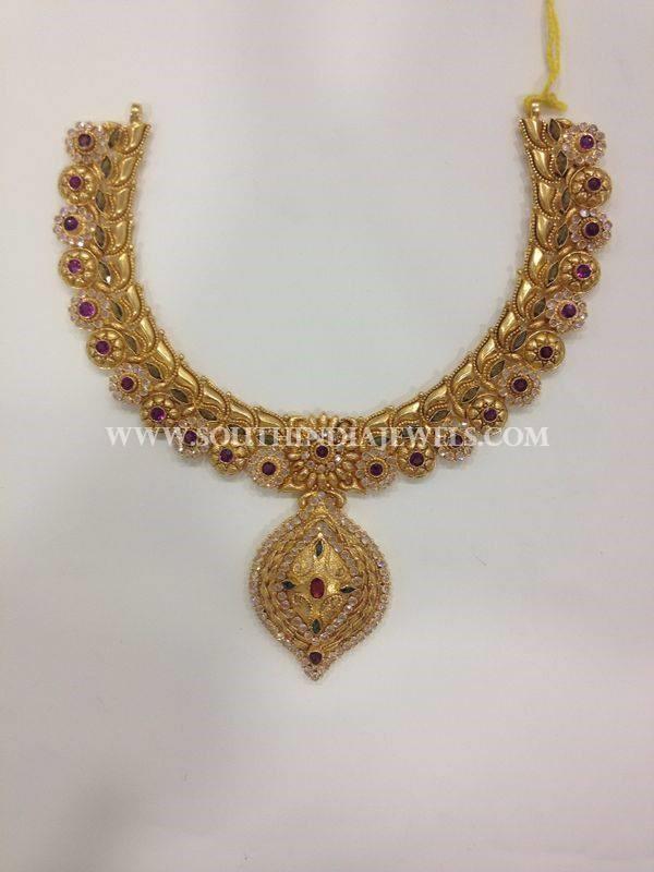 Gold CZ Stone Attigai From CMR Jewels