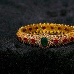 Diamond Bangle With Rubies & Emeralds