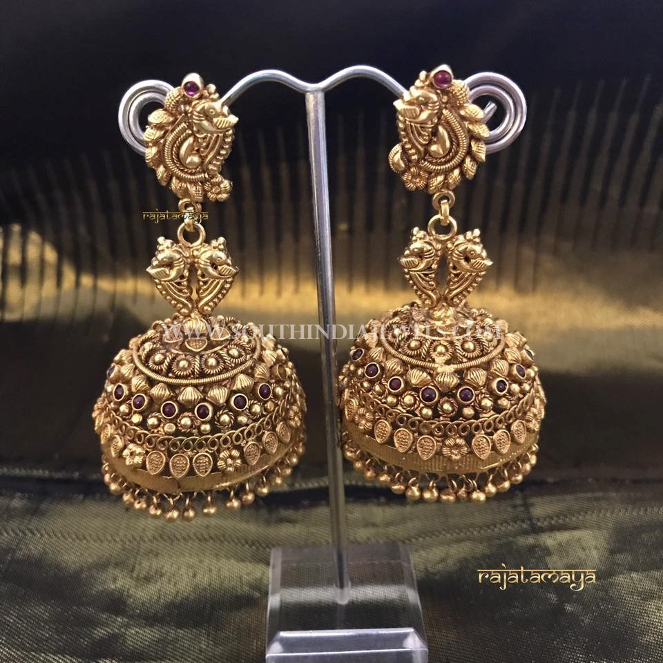 Gold Plated Pure Silver Jhumka Design