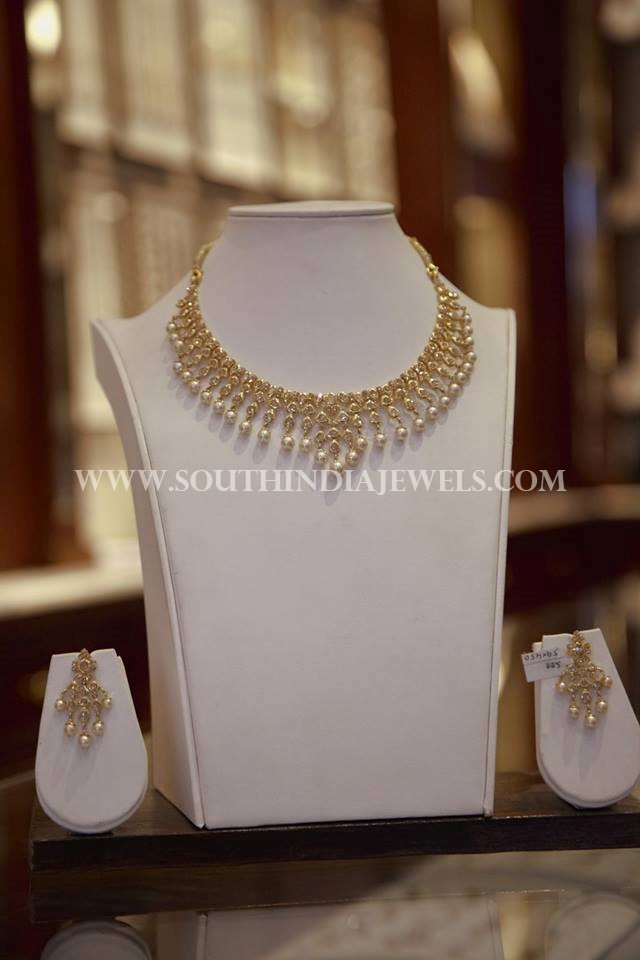 Gold Polki Pearl Necklace Design