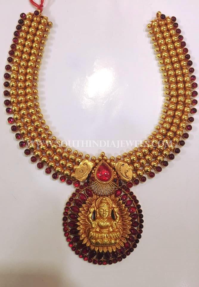 Gold Ruby Lakshmi Choker Necklace