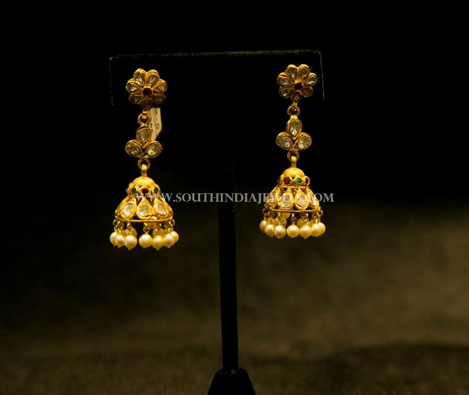 Simple Gold Jhumka Designs 2017
