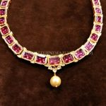 Simple Gold Antique Ruby Necklace