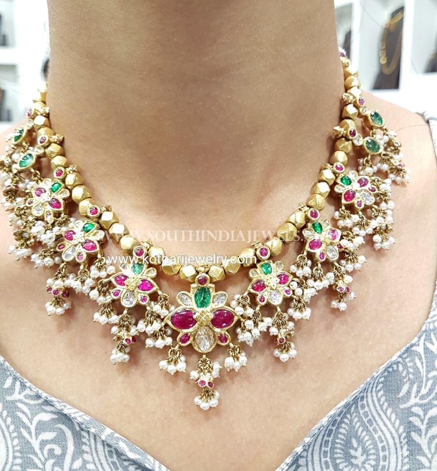 22Kt Gold Guttapusalu Necklace From Kothari Jewellery