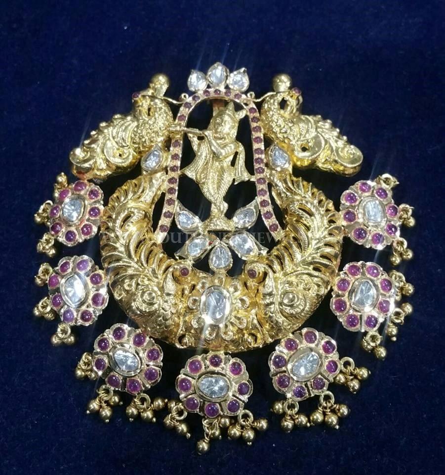 Antique Gold Ruby Krishna Pendant