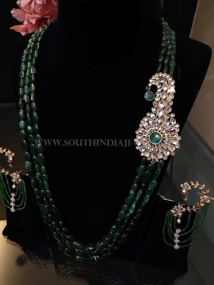 Designer Emerald Haram With Side Locket