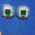 Diamond Emerald Ear Stud