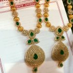 Gold Emerald Necklace From Rohit Jewellers