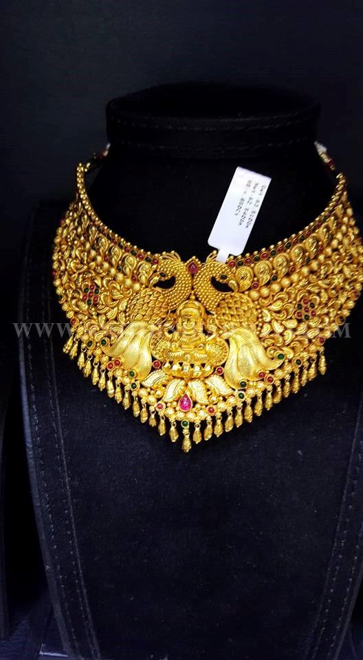 22k Huge Antique Peacock Choker Necklace Design