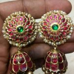 Gold Pearl & Ruby Studded Jhumka