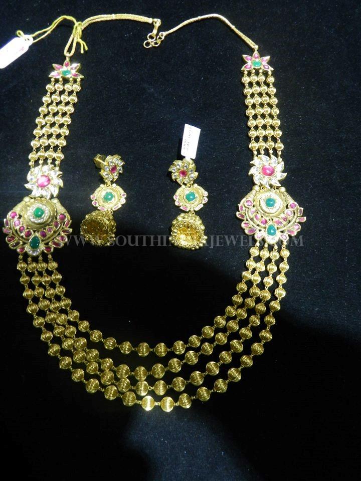 Gold Ball Haram Earrings & Set