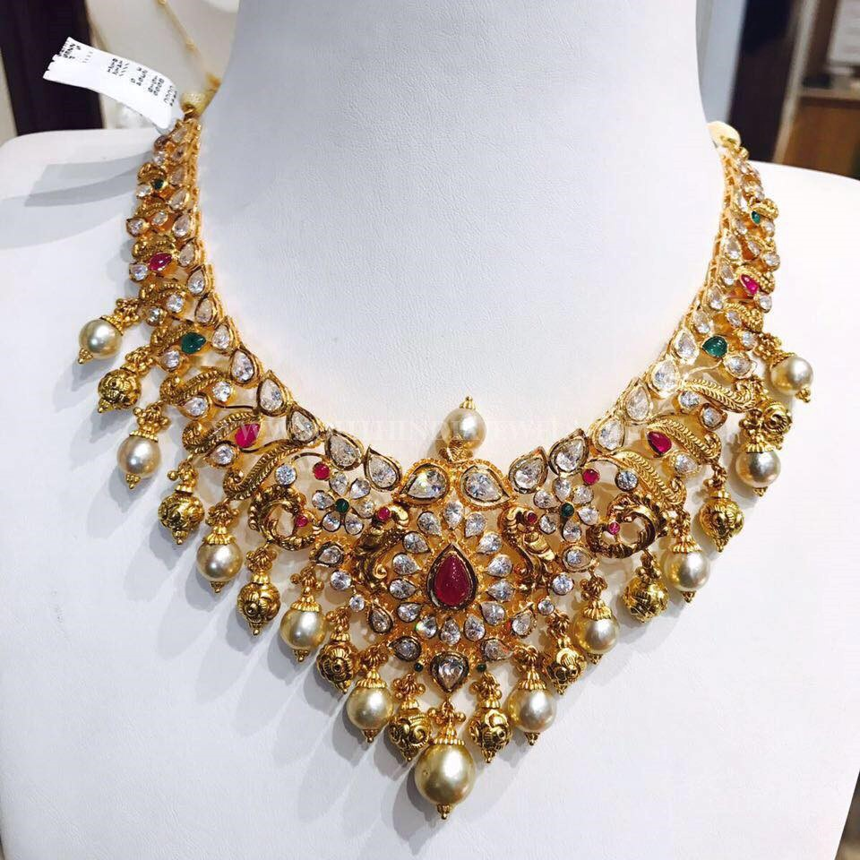 Gold Necklace With Pearls & Antique Balls