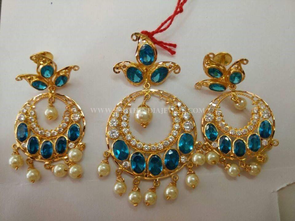 Gold Pendant Set With Blue Stones