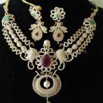 Diamond Peacock Step Necklace Set