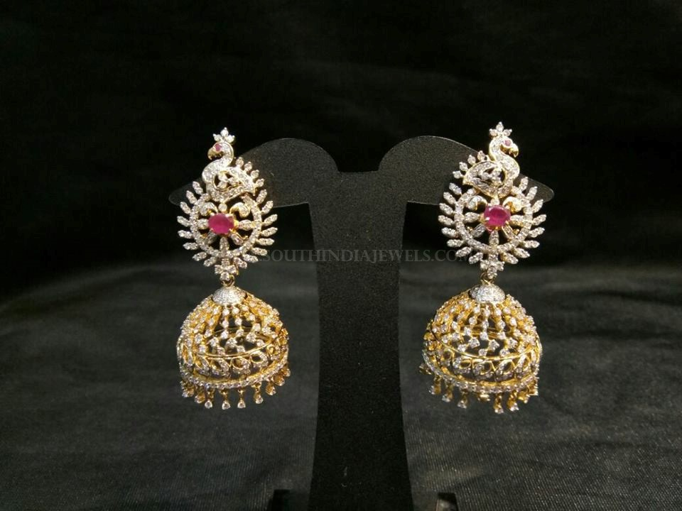Gold Diamond Peacock Jhumka