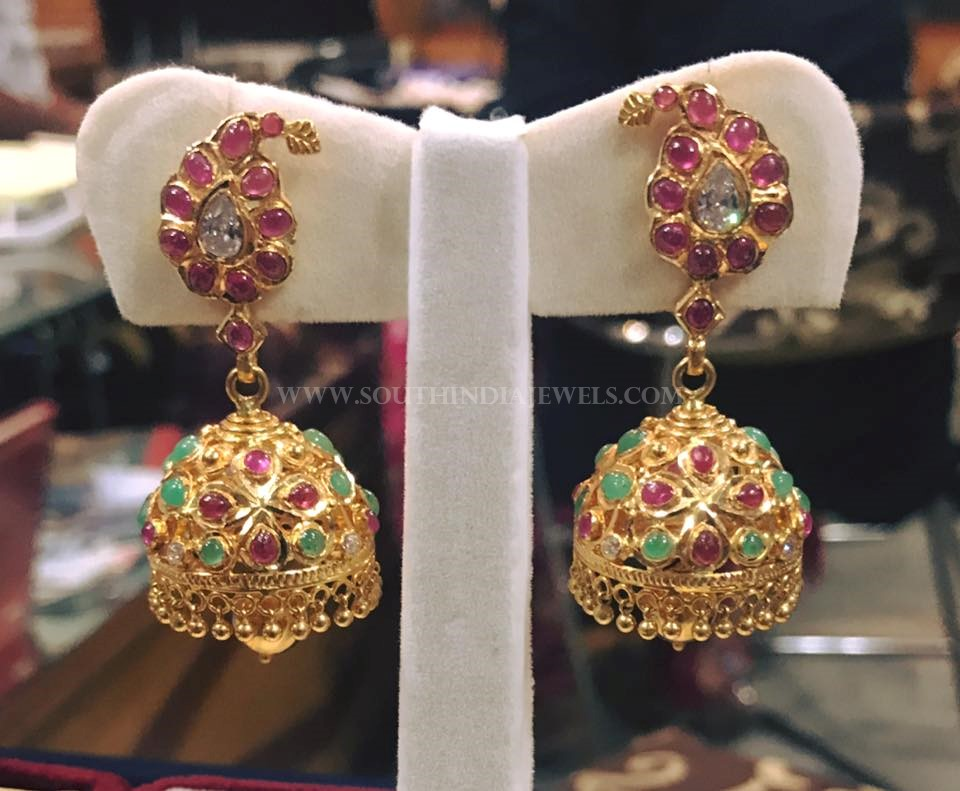 Gold Ruby Emerald Jhumka From Rohit Jewellers