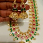One Gram Gold CZ Necklace Set With Jhumka