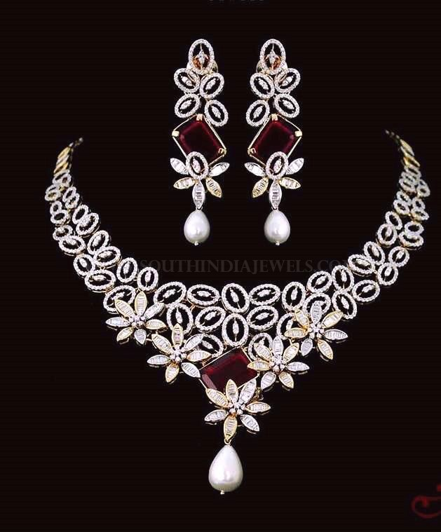 Designer Diamond Necklace Set From Lakshmi Jewellers