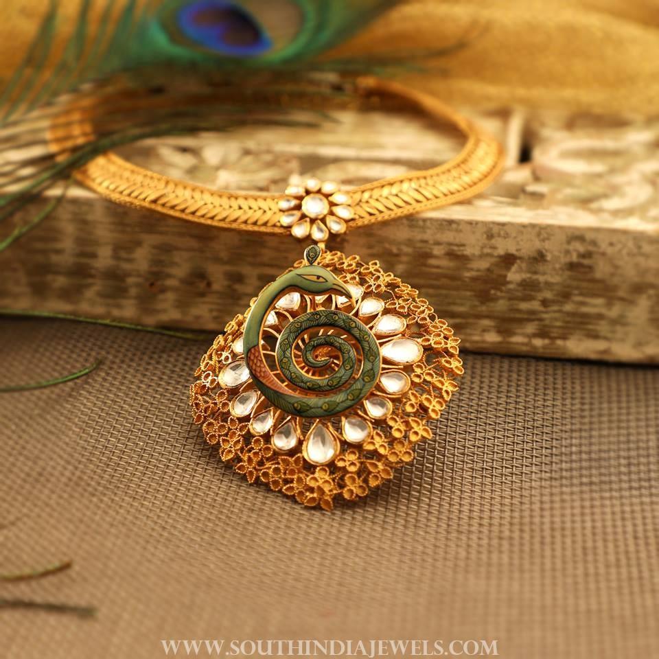 Designer Gold Kundan Necklace From Manubhai Jewellers