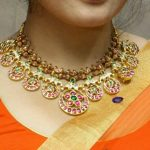 Gold Antique Necklace From Anagha Jewellery